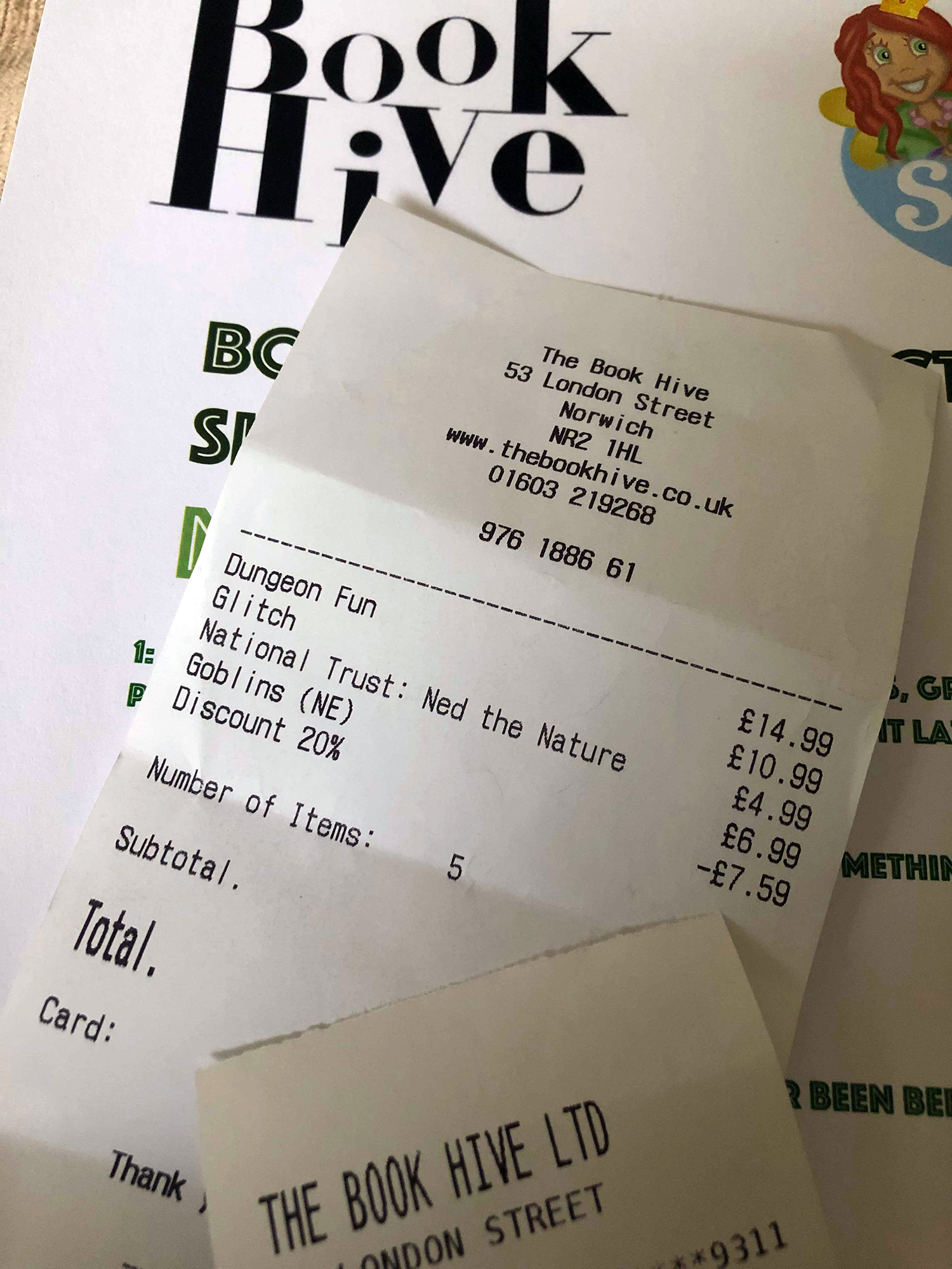 Discount from Card at Book Hive Norwich.