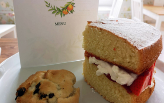 Scone and cake at The Orangery Tea Room near Norwich.