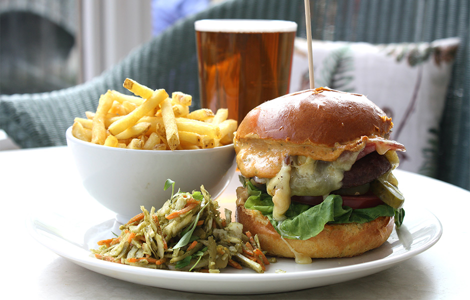 Burger at the Red Lion, Bishopgate in Norwich.